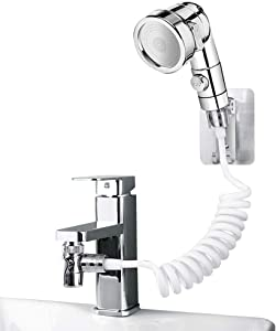 UHAPEER Basin Handheld Shower Set, ABS Bathroom Faucet Hand Held Shower Head External Sink Hose Sprayer Rinser Kit, for Hair Washing Pet Shower Bathroom Utility Room Cleaning , with Universal Adapters