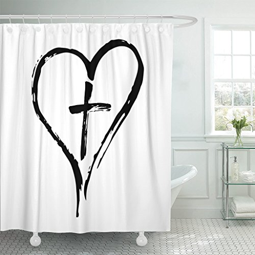 TOMPOP Shower Curtain God Christian Cross and Heart Drawn By Brush Symbols on White Catholic Christening Waterproof Polyester Fabric 72 x 78 Inches Set with Hooks by TOMPOP