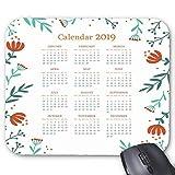 "Floral 2019 Printable Calendar Mouse Pad 9.8""x 7.8"""