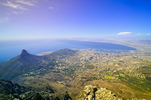 Aerial view from Table Mountain overlooking downtown Cape Town waterfront and Harbor South Africa Poster Print by Panoramic Images (24 x 18) (Aerial View Of Cape Town South Africa)