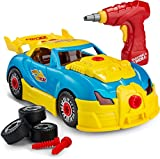 Toydaloo Self-Assemble 30-Piece Racing Kids Car Toy, Sounds Lights - Includes Mini Power Drill and Screws by