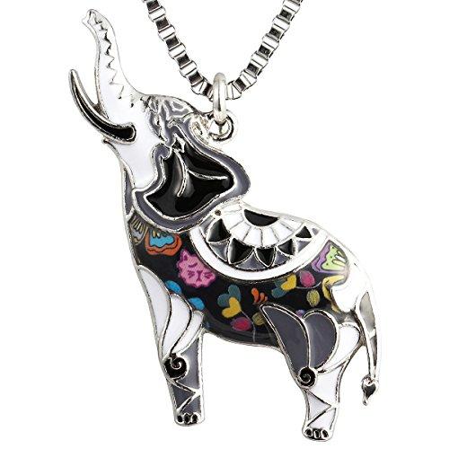 Luckeyui Large Elephant Necklaces & Pendants for Women Girls Black Enamel Animal Gifts Charm (Black Enamel Animal)