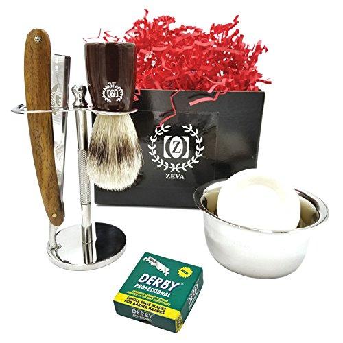 Sweeney Todd Barber Kit (Straight Razor Barber Kit Edge Stainless Steel Folding Shaving Knife Kit + 100 Derby)