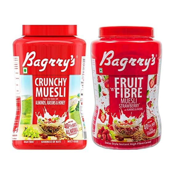 Bagrry's Crunchy Muesli Oat Clusters with Almonds, Raisins & Honey, 1000 GM + Bagrry's Fruit n Fibre Muesli, Strawberry