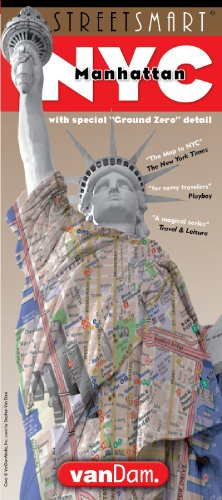 StreetSmart NYC Map by VanDam - City Street Map of Manhattan, NY, Downtown Edition - Laminated folding pocket size travel and subway map with attractions, sights, museums, hotels; 2017 Edition