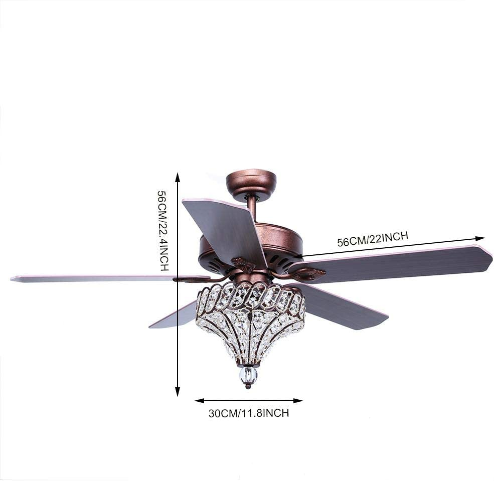 52 5 Blade Led Ceiling Fan Crystal Light Lamp With Remote Control Dining Living Room 220v Amazon Co Uk Diy Tools