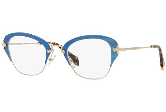 cd69a1536c2 Miu Miu 0MU 53OV MATTE AZURE Eyeglasses at Amazon Men s Clothing store
