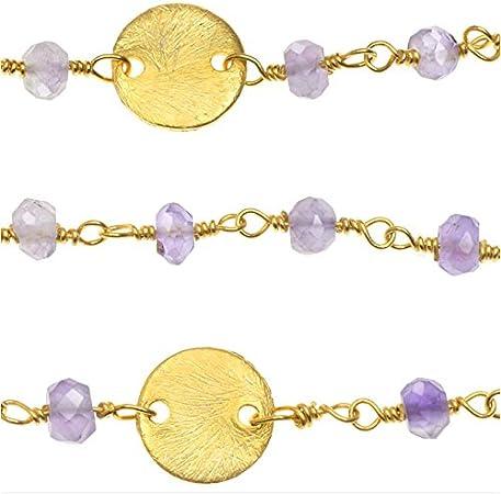 Alambre envuelto de la piedra preciosa de la cadena de Vermeil Oro, Amatista Rondelles 4 mm y 8 mm Pailettes, cm 2,54, de color púrpura