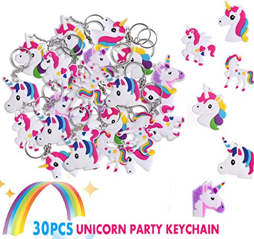 Unicorn Party Favor Keychain Pack, MOMODA Goody Bag Toys, Perfect of Theme Birthday Party Christmas Novelty Gift, 30Pcs (Cute Halloween Ideas For Kids)