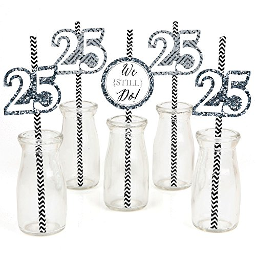 We Still Do Paper Straw Decor - 25th Wedding Anniversary Party Striped Decorative Straws - Set of 24 ()