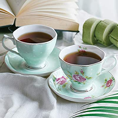 BTäT- Floral Tea Cups and Saucers, Set of 2 (Green - 8 oz) with Gold Trim and Gift Box, Coffee Cups, Floral Tea Cup Set, British Tea Cups, Porcelain Tea Set, Tea Sets for Women, Latte Cups