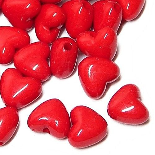 HEART SHAPED ACRYLIC BEADS PUFFED SMOOTH 10x9mm TRUE RED 50pc SALE (Heart Beads Puffed)