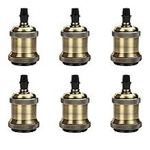 Frideko 6 Pack of Aluminum Vintage Copper E26 Edison Bulb Socket with Ceramic Base for Pendant Light / Wall Light