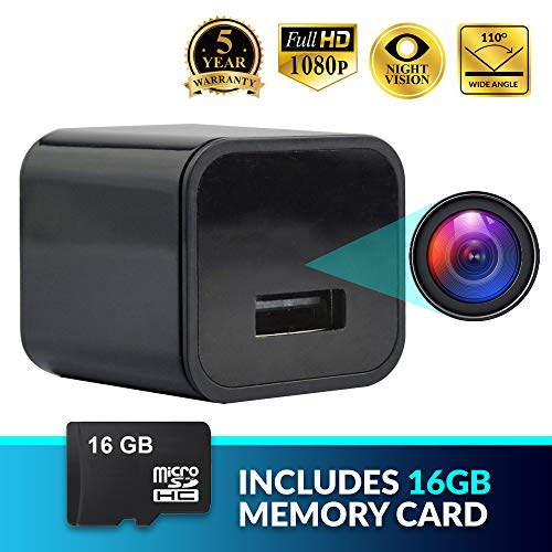 Eyefulwatch Spy Camera Hidden USB Charger   Mini Cam Features 1080p Wide Recording, Loop & Motion Detection Recording & 16GB Memory Card