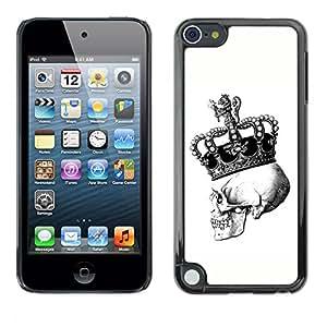 Shell-Star Arte & diseño plástico duro Fundas Cover Cubre Hard Case Cover para Apple iPod Touch 5 ( Skull Death King Crown White Black )