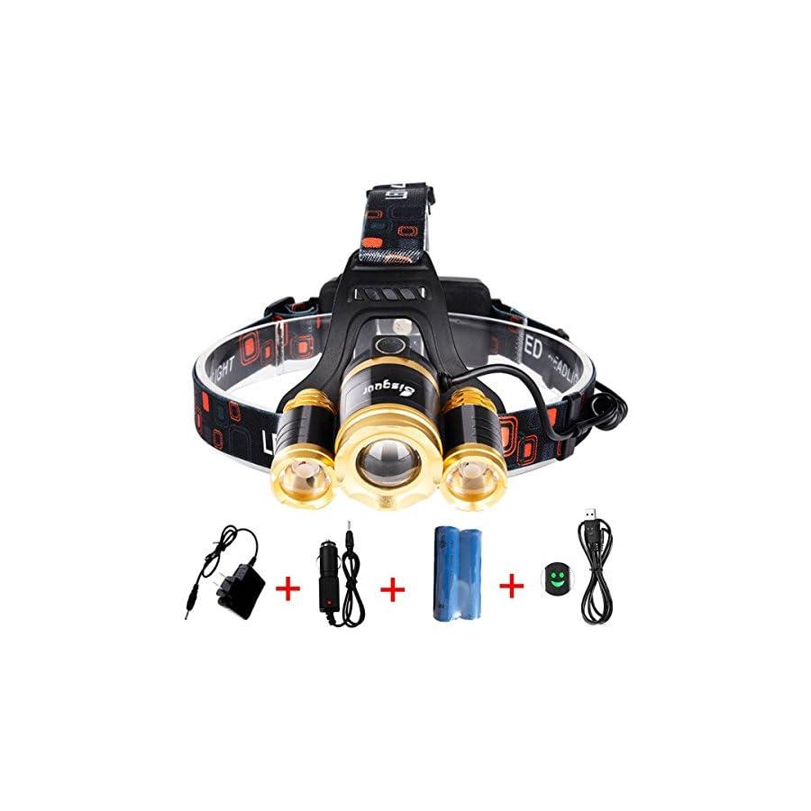 Bisgear 6000 Lumen Led Focusing Headlamp Rechargeable Ultra Bright 3 t6 Cree Headlight Hunting Tools Waterproof Flashlight Mining Light Camping Gear
