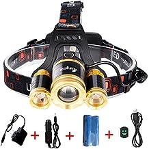 bisgear 6000Lumen LED de enfoque linterna frontal recargable Ultra brillante 3T6–Faro CREE Caza Herramientas impermeable linterna Minería Luz Camping Gear