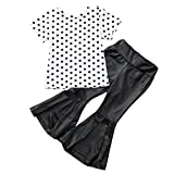 CSSD Children Kids Casual Outfits Clothes, Dot Print Backless Tops+Wave Pants (5T, White)