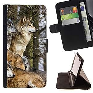 Momo Phone Case / Flip Funda de Cuero Case Cover - Manada de lobos de Invierno caninos Animales Naturaleza - HTC One A9