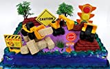 15 Piece CONSTRUCTION TRUCKS Themed Birthday Cake Topper Featuring Heavy Duty Equipment Vehicles and Decorative Themed Accessories