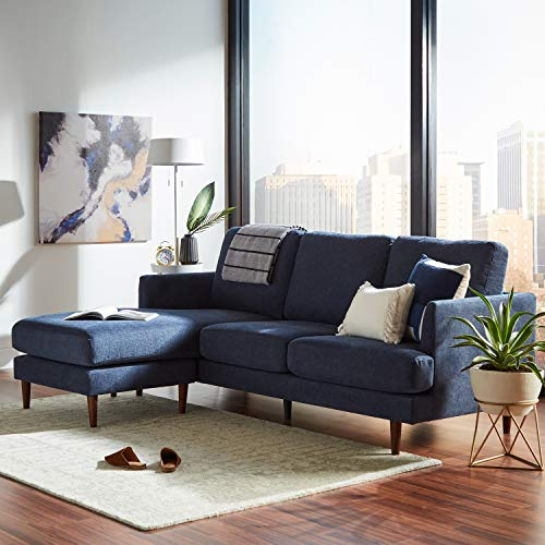 "Rivet Goodwin Modern Sectional Sofa, 88.6""W, Navy Blue"