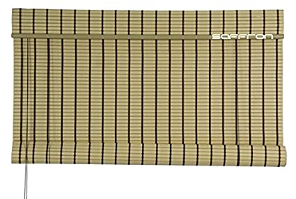 Buy Saffron Shades Woods Roll Up Blinds 4x8ft Bamboo Cream Online