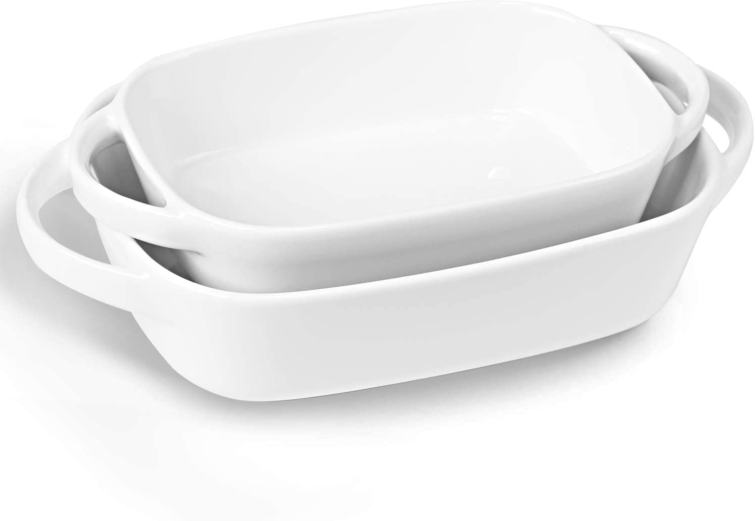 LEETOYI Porcelain Bakeware Set 2 Size, Rectangular Baking Dish with Double Handle,Ceramics Baking Pans for Kitchen, Cooking, Cake Dinner,1 or 2 person servings 8.7-Inch/7.5-Inch (Off White)