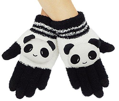 Girls Winter Warm Panda Touchscreen Knit Gloves Mitten,Phone Gloves Texting Gloves