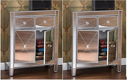 set of 2 mirrored hollywood glam dresser bedroom chest storage drawers nightstand