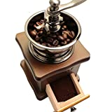 Classical Wooden Mini Coffee Grinder Manual Stainless Steel Retro Coffee Spice Mill With