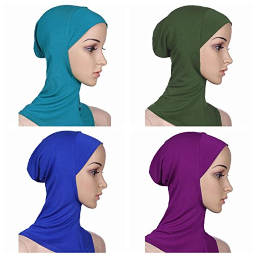 Ksweet 4pcs Lightweight Elastic Hijab Caps Full Cover Hijab Bonnet Islamic Scarf for Women Turban (Blue+Green+Light Blue+Purple)