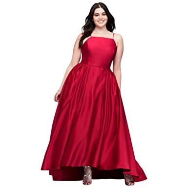 High-Neck Satin Plus Size Prom Dress Style A20188W, Red, 20 ...