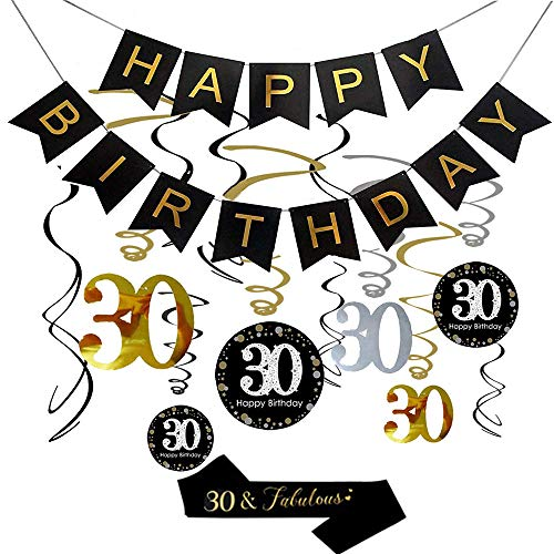 30th Birthday Party Decorations, 30th Birthday Gifts for Women/Men, Happy 30th Birthday Banner, Sparkling Celebration 30 Hanging Swirls, 30 and Fabulous Sash, 30th Birthday Party Supplies Anniversary]()