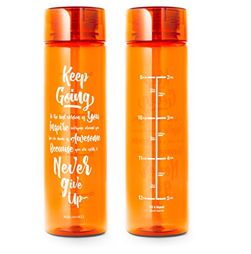 32oz Inspirational Fitness Workout Sports Water Bottle with Time Marker   Measurements   Goal Marked Times For Measuring Your H2O Intake, BPA Free Non-toxic Tritan (Orange)