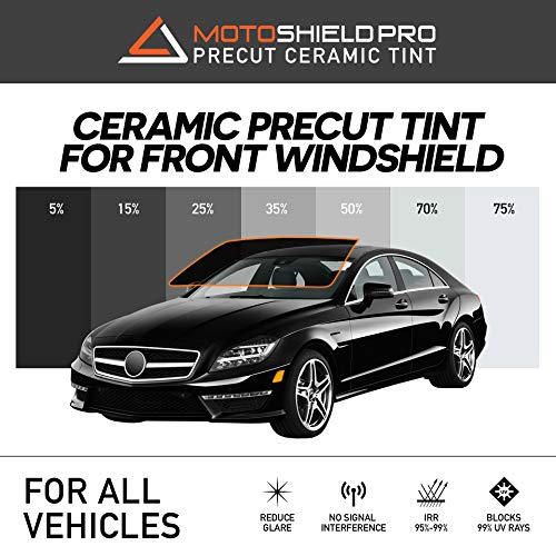 MotoShield Pro Precut Ceramic Tint Film [Blocks Up to 99% of UV/IRR Rays] Window Tint for All Vehicles - Front Windshield Only, Any Tint Shade