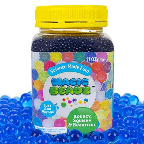 Magic Beadz - Blue Gel Water Beads - Transparent Jelly Pearls - Vase Filler - Wedding Centerpiece - Candles - Flower Arrangements - Over 30,000 Beads - 11oz Jar Makes (Buy Blue Jelly)