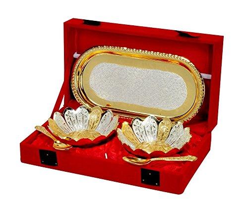 DESIGNOX Silver Bowl Gift Set (4.7 x 8.8 x 2.36 inch, Silver Gold)