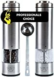 KSL Electric Salt and Pepper Grinder Set of 2 (Batteries Included) - Adjustable Powered Shakers - Automatic One Hand Mills - Stainless Steel Battery Operated Peppermill - Christmas & New Year Gift Kit