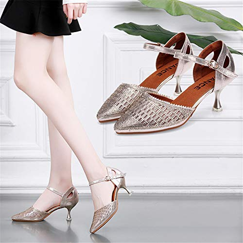 Shoes High Dance Heel QXH Women's PU Dancing Ballroom Champagne Sandals Gold Banquet qn8Zt87w