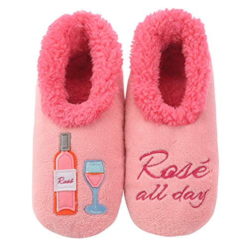 Snoozies Pairables Womens Slippers - House Slippers - Rose All Day - Medium