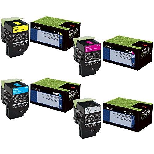 Lexmark 70C1HK0 High Yield Black with 70C10C0, 70C10M0, 70C10Y0 Standard Yield Color Toner Cartridge Set - Lexmark CS410dn