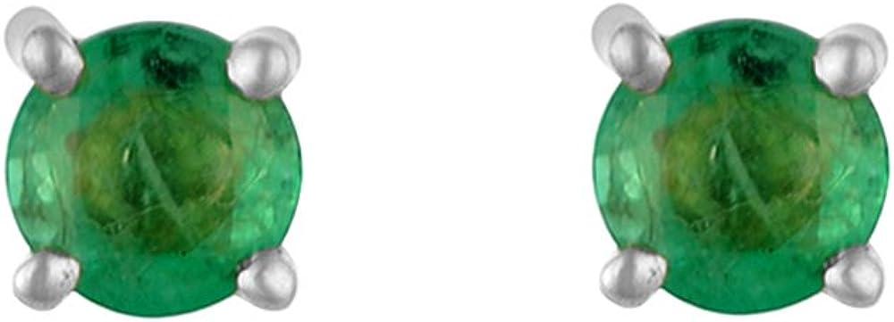 Ivy Gems Pendientes de Oro Blanco de 9k con Esmeralda para Mujer
