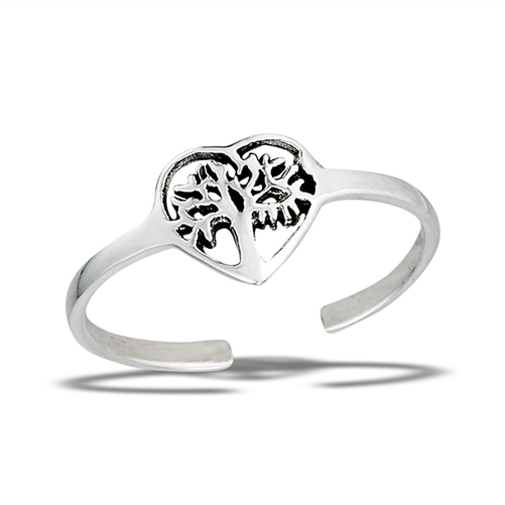Tree of Life Heart Cutout .925 Sterling Silver Promise Branch Leaf Midi Toe Ring Band Sac Silver UK_B072Q2PSFZ