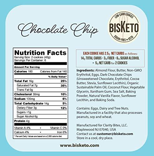 Low Carb Cookies BisKeto - Keto Snacks, Low Net Carbs, No Sugar, Gluten & Grain Free - Box with 6 Packs,12 Cookies (Variety Joy) - Ketogenic Diet Friendly & Healthy Snack Food 4