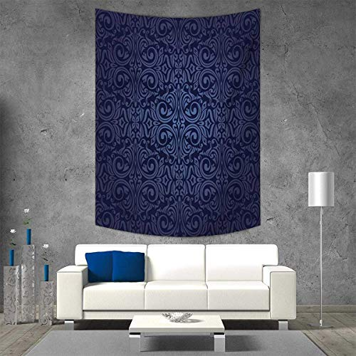 (smallbeefly Indigo Customed Widened Tapestry Victorian Vintage Ancient Royal Times Inspired Floral Leaves Swirls Image Artprint Wall Hanging Tapestry 54W x 72L INCH Dark Blue)