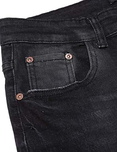para Vaqueros Casuales De Fit Strech Pantalones Silm Hombre Basicas Color Pantalones Sólidos 36 Pantalones Size E con Vendaje Colores Black ABwE6xARn