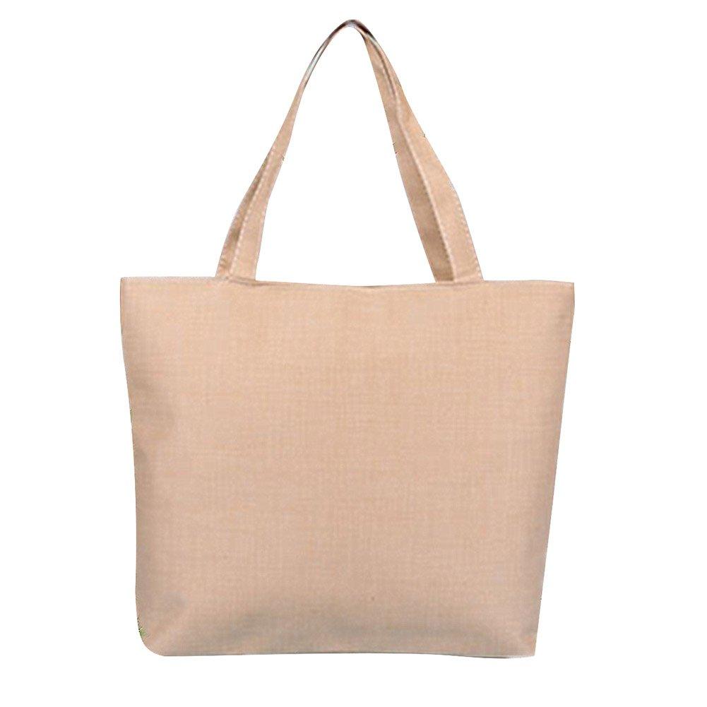 Daorier Shopping Sacs Toile Vierge Sac en Coton Sacs Fourre-Tout pour Femme (Blanc)