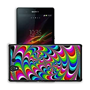 Abstract Multi Color Psychedelic Artwork Sony Xperia Z 5.0 C6603 C6602 Snap Cover Premium Leather Design Back Plate Case Customized Made to Order Support Ready 5 4/8 inch (140mm) x 2 7/8 inch (73mm) x 7/16 inch (11mm) MSD Sony Xperia Z cover Professional by lolosakes