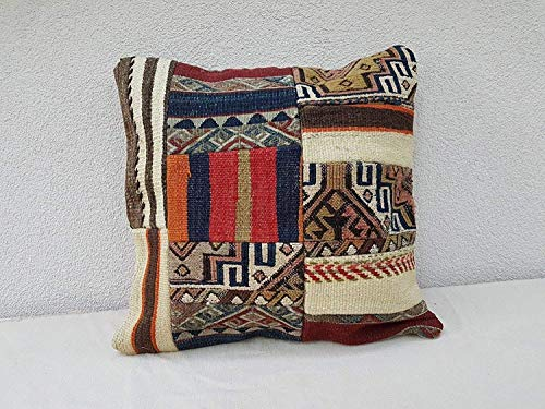 Turkish Handmade Patchwork Kilim Rug Pillow Cover, 19th Century Appliqué Tribal Decorative Textured Finish Pillows, Large Cushion 20'' x 20'' (50 x 50 Cm)