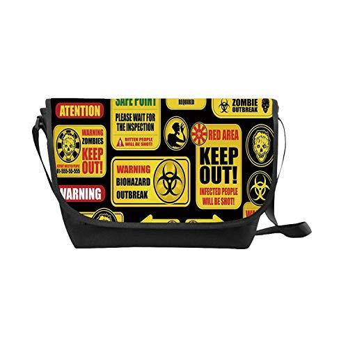 Zombie Decor Messenger Bag,Apocalypse Signs Attention Danger Safe Point Evil Phrase Modern Image for Leisure